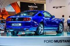 MOSCOW, RUSSIA - AUG 2012: FORD MUSTANG 5TH GENERATION presented. As world premiere at the 16th MIAS (Moscow International Automobile Salon) on August 30, 2012 royalty free stock photography