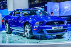 MOSCOW, RUSSIA - AUG 2012: FORD MUSTANG 5TH GENERATION presented. As world premiere at the 16th MIAS (Moscow International Automobile Salon) on August 30, 2012 royalty free stock photos