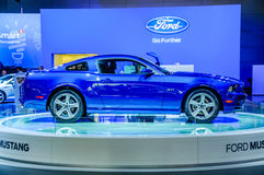 MOSCOW, RUSSIA - AUG 2012: FORD MUSTANG 5TH GENERATION presented. As world premiere at the 16th MIAS (Moscow International Automobile Salon) on August 30, 2012 royalty free stock photo