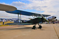 MOSCOW, RUSSIA - AUG 2015: general-purpose Soviet biplane Po-2 U. 2 Kukuruznik presented at the 12th MAKS-2015 International Aviation and Space Show on August royalty free stock photography