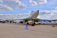 MOSCOW, RUSSIA - AUG 2015: heavy strategic bomber Tu-160 Blackja Royalty Free Stock Images