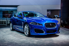 MOSCOW, RUSSIA - AUG 2012: JAGUAR XFR-S presented as world premi Royalty Free Stock Photos