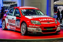 MOSCOW, RUSSIA - AUG 2012: LADA GRANTA SPORT LUKOIL presented as Royalty Free Stock Photography