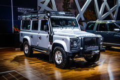 MOSCOW, RUSSIA - AUG 2012: LAND ROVER DEFENDER 110 presented as. World premiere at the 16th MIAS (Moscow International Automobile Salon) on August 30, 2012 in royalty free stock images