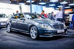 MOSCOW, RUSSIA - AUG 2012: MERCEDES-BENZ S-CLASS W221 presented as world premiere at the 16th MIAS Moscow International Automobile Stock Photos