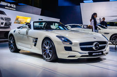 MOSCOW, RUSSIA - AUG 2012: MERCEDES-BENZ SLS AMG COUPE C197 presented as world premiere at the 16th MIAS Moscow International Auto Royalty Free Stock Photo