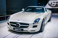 MOSCOW, RUSSIA - AUG 2012: MERCEDES-BENZ SLS AMG COUPE C197 presented as world premiere at the 16th MIAS Moscow International Auto Stock Photo