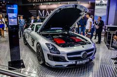 MOSCOW, RUSSIA - AUG 2012: MERCEDES-BENZ SLS AMG ROADSTER BRABUS Royalty Free Stock Images