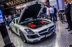 MOSCOW, RUSSIA - AUG 2012: MERCEDES-BENZ SLS AMG ROADSTER BRABUS Royalty Free Stock Photo