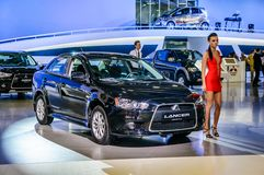 MOSCOW, RUSSIA - AUG 2012: MITSUBISHI LANCER X presented as worl Royalty Free Stock Photos