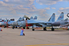 MOSCOW, RUSSIA - AUG 2015: multirole fighter aircraft Su-35 Flan Stock Photos