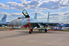 MOSCOW, RUSSIA - AUG 2015: multirole fighter aircraft Su-35 Flan Royalty Free Stock Photos
