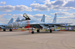 MOSCOW, RUSSIA - AUG 2015: multirole fighter aircraft Su-35 Flan Stock Images