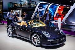 MOSCOW, RUSSIA - AUG 2012: PORSCHE 911 CARRERA S CABRIO 991 pres Royalty Free Stock Photos