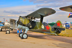MOSCOW, RUSSIA - AUG 2015: Soviet biplane fighter I-15 Chaika pr Stock Photography