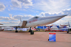 MOSCOW, RUSSIA - AUG 2015: strategic strike bomber Tu-22M Backfi. Re presented at the 12th MAKS-2015 International Aviation and Space Show on August 28, 2015 in Royalty Free Stock Photos