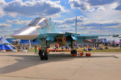MOSCOW, RUSSIA - AUG 2015: strike fighter Su-34 Fullback present. Ed at the 12th MAKS-2015 International Aviation and Space Show on August 28, 2015 in Moscow Stock Photos