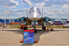 MOSCOW, RUSSIA - AUG 2015: strike fighter Su-34 Fullback present Stock Images