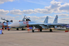MOSCOW, RUSSIA - AUG 2015: Su-27 Flanker presented at the 12th M Royalty Free Stock Photos