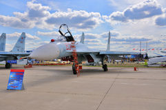 MOSCOW, RUSSIA - AUG 2015: Su-27 Flanker presented at the 12th M. AKS-2015 International Aviation and Space Show on August 28, 2015 in Moscow, Russia stock photography