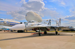 MOSCOW, RUSSIA - AUG 2015: Su-27 Flanker presented at the 12th M Royalty Free Stock Images