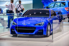 MOSCOW, RUSSIA - AUG 2012: SUBARU BRZ presented as world premier Royalty Free Stock Photos