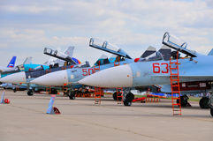MOSCOW, RUSSIA - AUG 2015: Sukhoi fighter aircrafts presented at Royalty Free Stock Photo