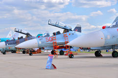 MOSCOW, RUSSIA - AUG 2015: Sukhoi fighter aircrafts presented at Stock Image