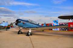 MOSCOW, RUSSIA - AUG 2015:  trainer aircraft T-6 Texan presented Stock Photography