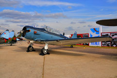 MOSCOW, RUSSIA - AUG 2015:  trainer aircraft T-6 Texan presented Royalty Free Stock Images