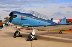 MOSCOW, RUSSIA - AUG 2015:  trainer aircraft T-6 Texan presented Royalty Free Stock Photography