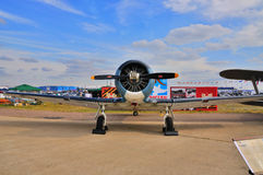 MOSCOW, RUSSIA - AUG 2015:  trainer aircraft T-6 Texan presented Stock Photo