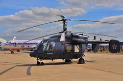 MOSCOW, RUSSIA - AUG 2015: utility helicopter Ka-226 Hoodlum pre. Sented at the 12th MAKS-2015 (International Aviation and Space Show) on August 28, 2015 in Stock Photo