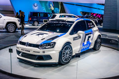 MOSCOW, RUSSIA - AUG 2012: VOLKSWAGEN POLO R WRC presented as world premiere at the 16th MIAS Moscow International Automobile Salo Royalty Free Stock Photos