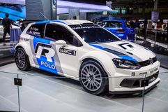 MOSCOW, RUSSIA - AUG 2012: VOLKSWAGEN POLO R WRC presented as world premiere at the 16th MIAS Moscow International Automobile Salo Royalty Free Stock Image