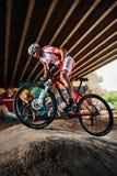 Biker riding with aggressive Stock Photos