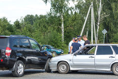 MOSCOW, RUSSIA - AUGUST, 2017: Car automobile crash from car accident on the road in a city with police and crash participants. Royalty Free Stock Images