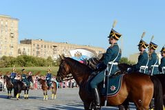 The cavalry honorary escort of the Presidential Regiment and the Kremlin Riding School on Poklonnaya Hill performs in honor of the Royalty Free Stock Images