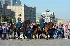 The cavalry honorary escort of the Presidential Regiment and the Kremlin Riding School on Poklonnaya Hill performs in honor of the Stock Photo