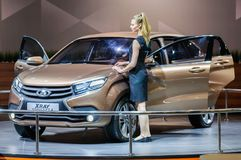 Crossover Lada XRAY Concept 2. Moscow, Russia - August 27, 2015. Crocus Expo. International exhibition of SUVs, crossovers and off-road vehicles `Moscow Off-Road Stock Photo