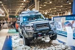 Land Rover Discovery. Moscow, Russia - August 27, 2015. Crocus Expo. International exhibition of SUVs, crossovers and off-road vehicles `Moscow Off-Road Show Stock Photo