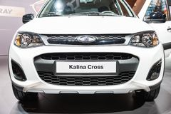Lada Kalina Cross. Fragment. Moscow, Russia - August 27, 2015. Crocus Expo. International exhibition of SUVs, crossovers and off-road vehicles `Moscow Off-Road Royalty Free Stock Photo