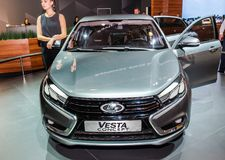 Sedan Lada Vesta Concept. Moscow, Russia - August 27, 2015. Crocus Expo. International exhibition of SUVs, crossovers and off-road vehicles `Moscow Off-Road Show Royalty Free Stock Photo