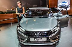 Sedan Lada Vesta Concept. Moscow, Russia - August 27, 2015. Crocus Expo. International exhibition of SUVs, crossovers and off-road vehicles `Moscow Off-Road Show Stock Image