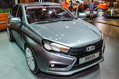 Sedan Lada Vesta Concept. Moscow, Russia - August 27, 2015. Crocus Expo. International exhibition of SUVs, crossovers and off-road vehicles `Moscow Off-Road Show Stock Images