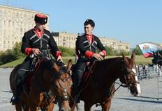 Demonstrative performance by the Kremlin Riding School on Poklonnaya Hill in honor of the Russian Flag holiday. stock images