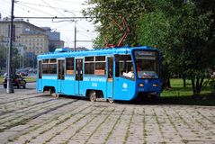 Moscow. Russia. August 23, 2016. The educational tram goes on rails along Prospekt Street of the world, training of the trainee. City public environmentally stock photos
