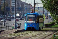 Moscow. Russia. August 23, 2016. The educational tram goes on rails along Prospekt Street of the world, training of the trainee. City public environmentally stock image