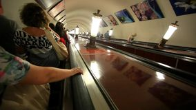 MOSCOW, RUSSIA, 13 AUGUST 2014, Escalator carries stock video footage