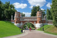 Figured bridge in Museum-reserve `Tsaritsyno`, Moscow, Russia stock image